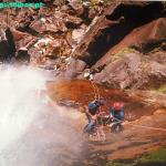 Rappel near a water fall